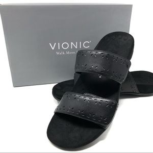 Vionic Women's Blk Leather Rest Randi Slide Sandal